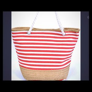 Summer Tote with Stripes and Canvas - NWT
